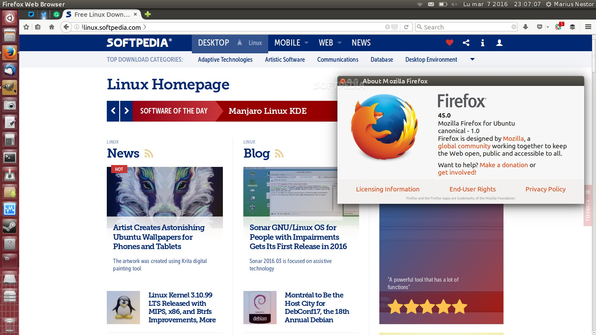 Mozilla Firefox 45 0 Now Available for Download, Linux GTK3