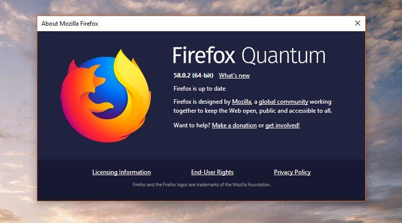 mozilla firefox 58.0.2