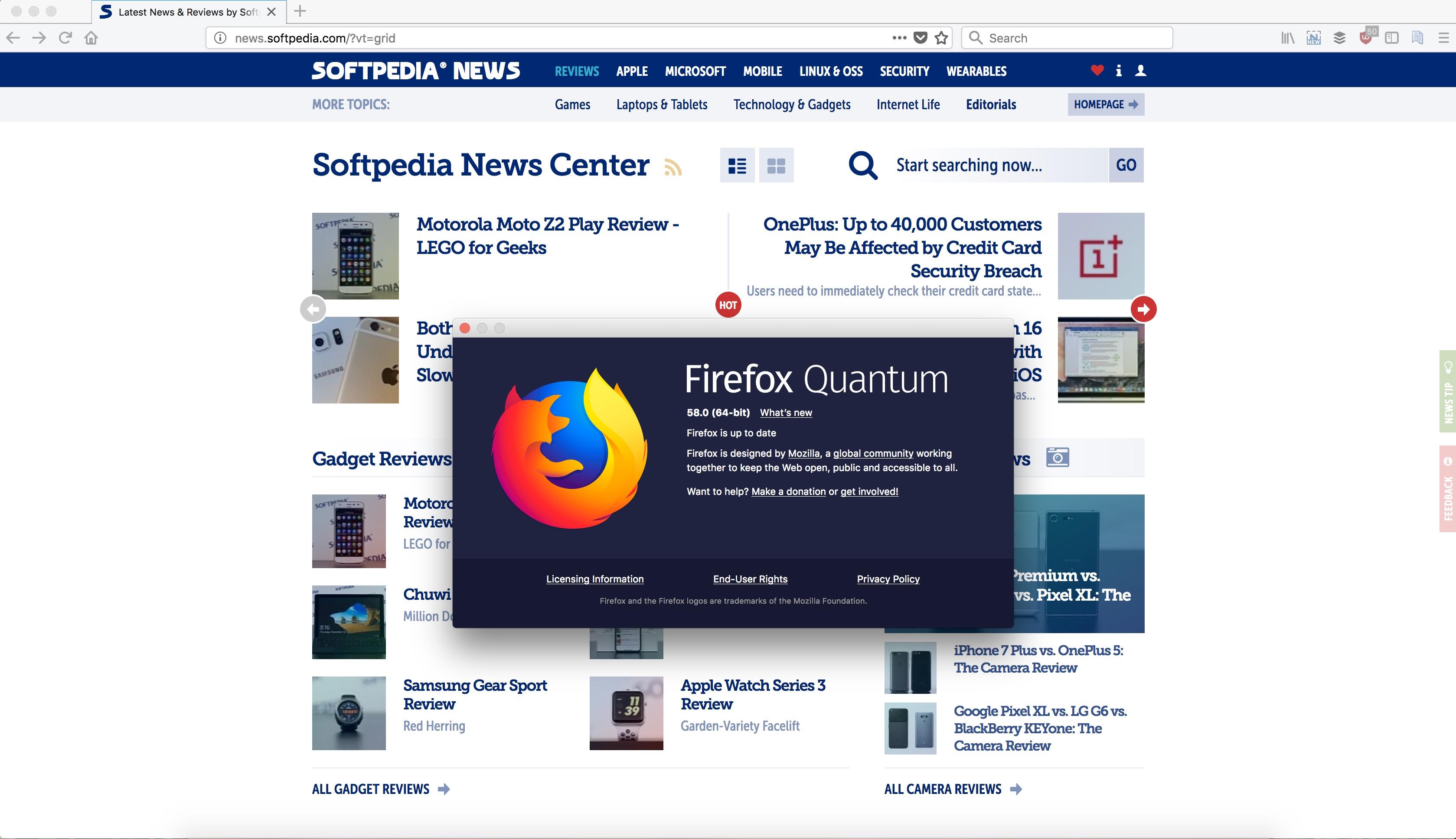 Mozilla Firefox 58 0
