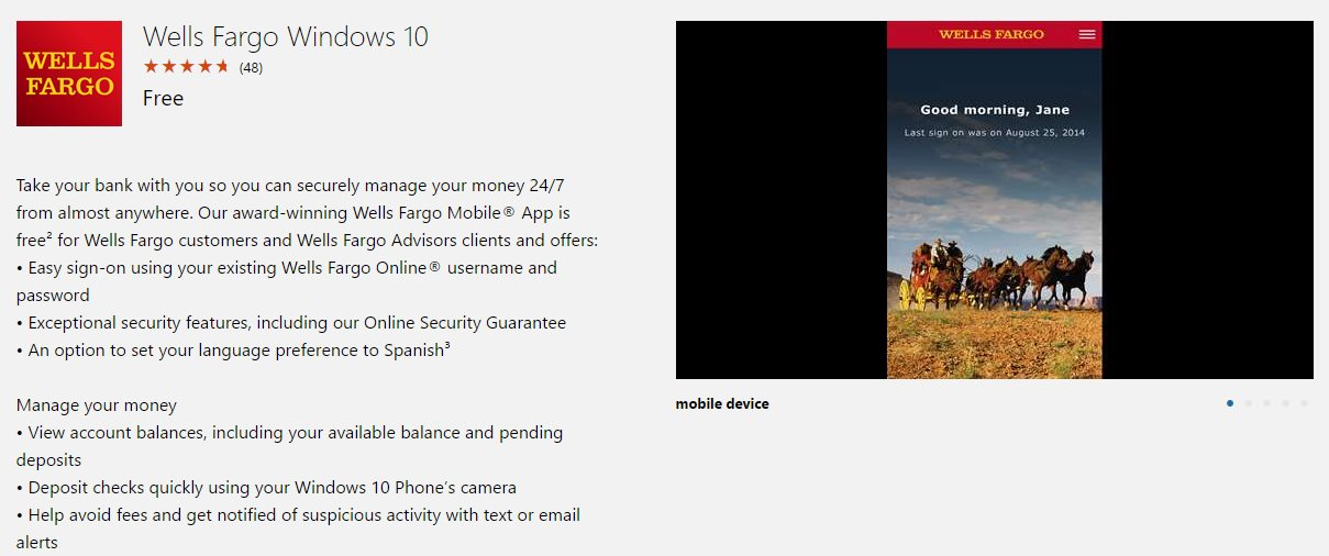 New Windows 10 Mobile Banking App Released: Wells Fargo