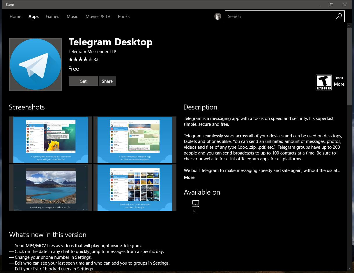 Official Telegram Desktop App for Windows 10 Launches in the
