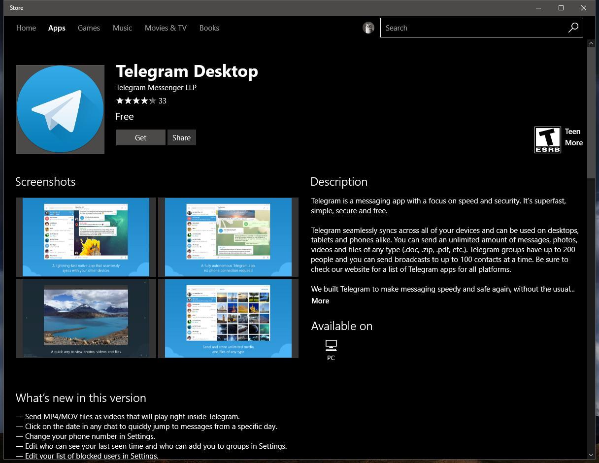 Official Telegram Desktop App for Windows 10 Launches in the Windows
