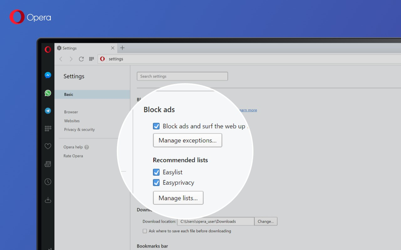 Opera Browser 45 Gets Ad Blocker Improvements, Big Windows 7