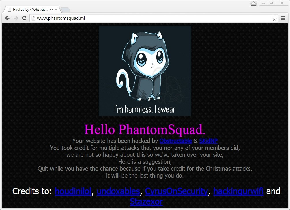 Another Hacking Crew Defaces Phantom Squad's Website, Takes Credit