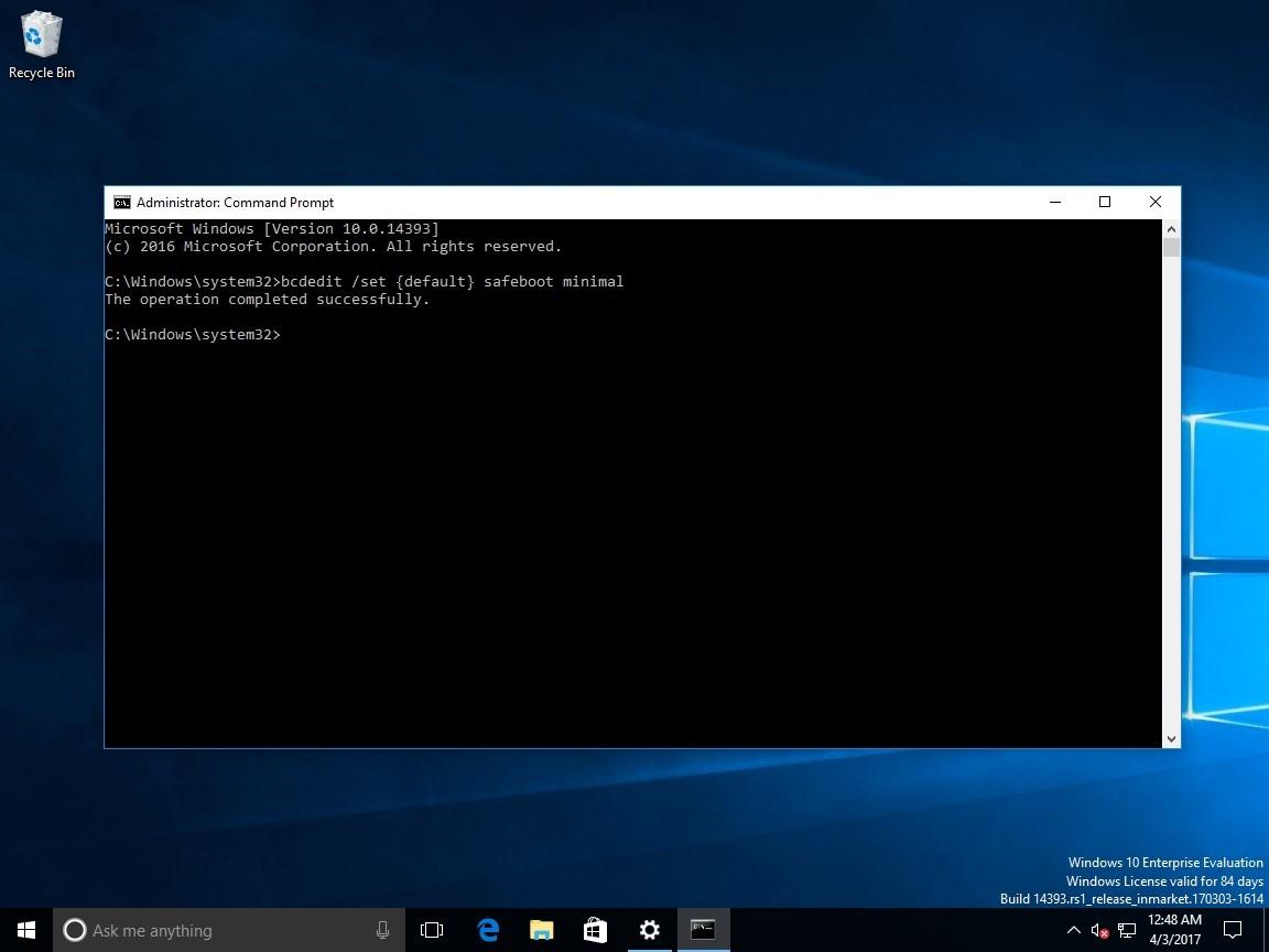enabling safe mode as default boot in windows 10
