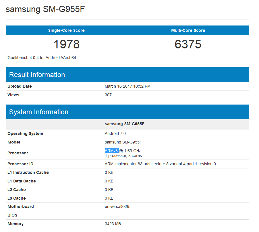 Samsung Galaxy S8+ Running Exynos 8895 Chip Spotted in Benchmark