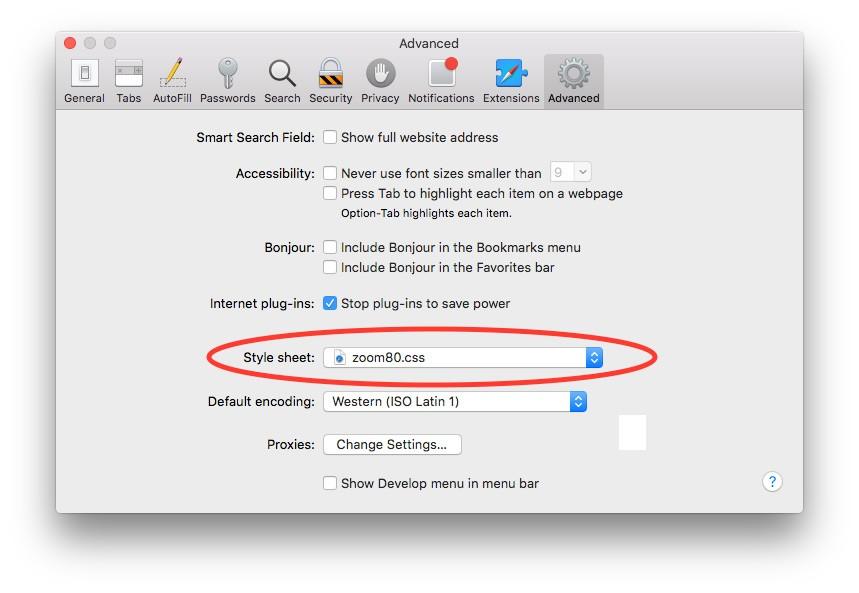 Set Safari Default Zoom Level on Mac Retina Display
