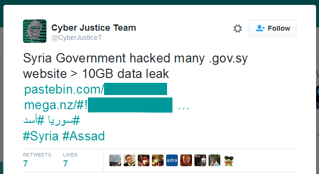 Syrian Government Hacked, 43 GB of Data Spilled Online by