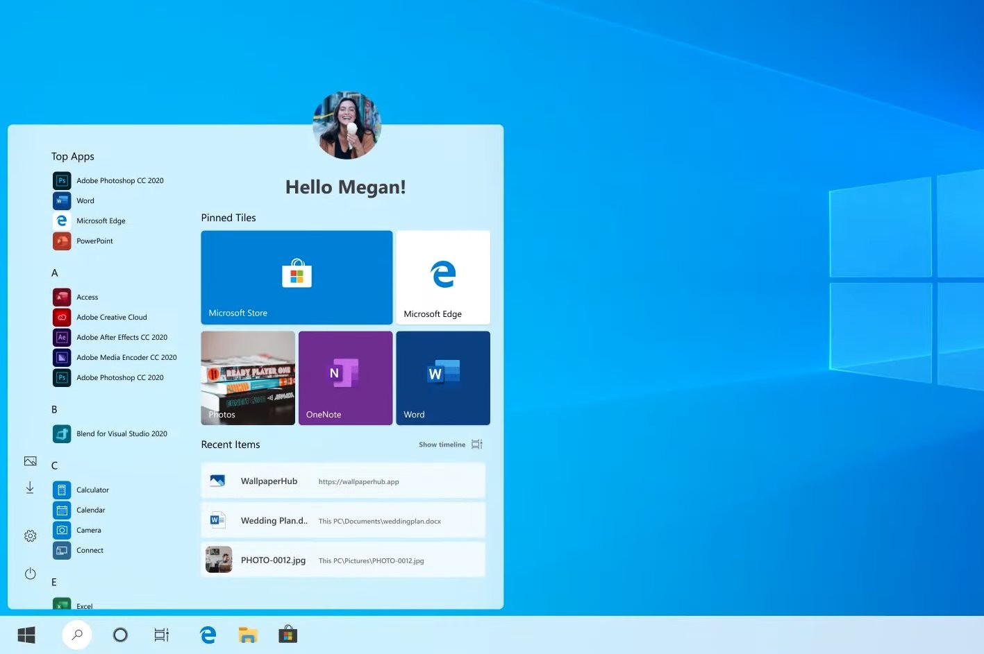 This Start Menu With Round Corners Is What Windows 10 20h1