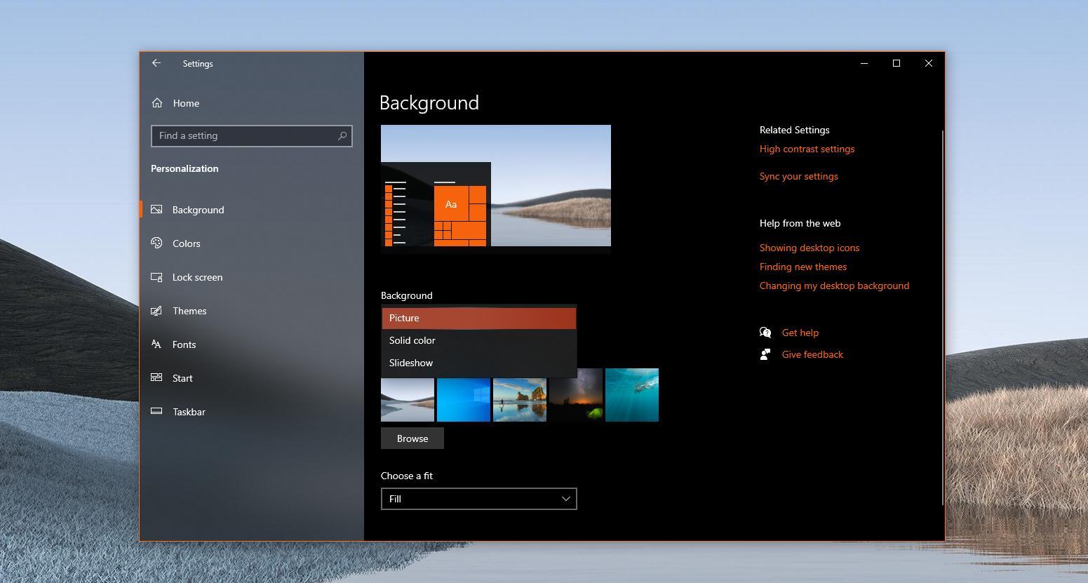 Windows 10 desktop background options
