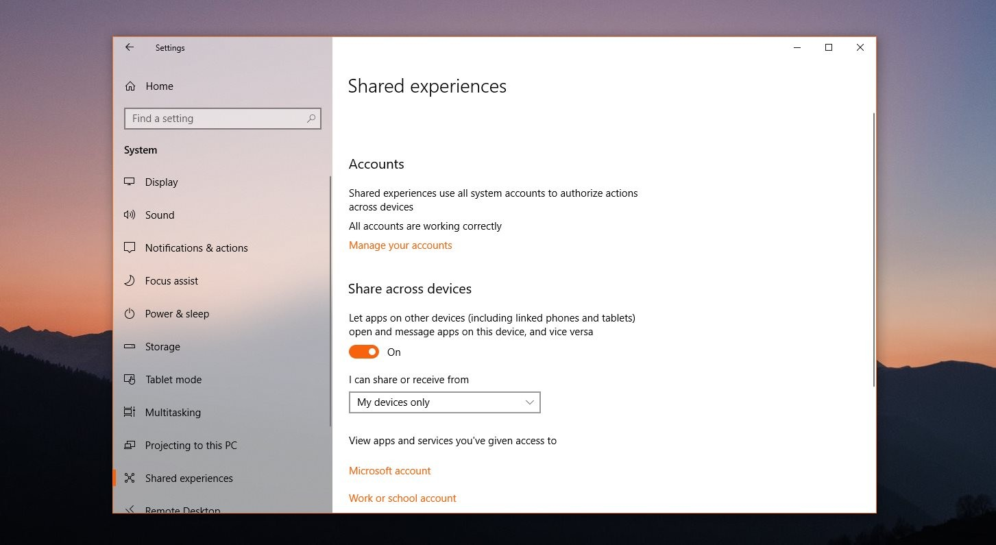 Three Ways to Disable Shared Experiences in Windows 10