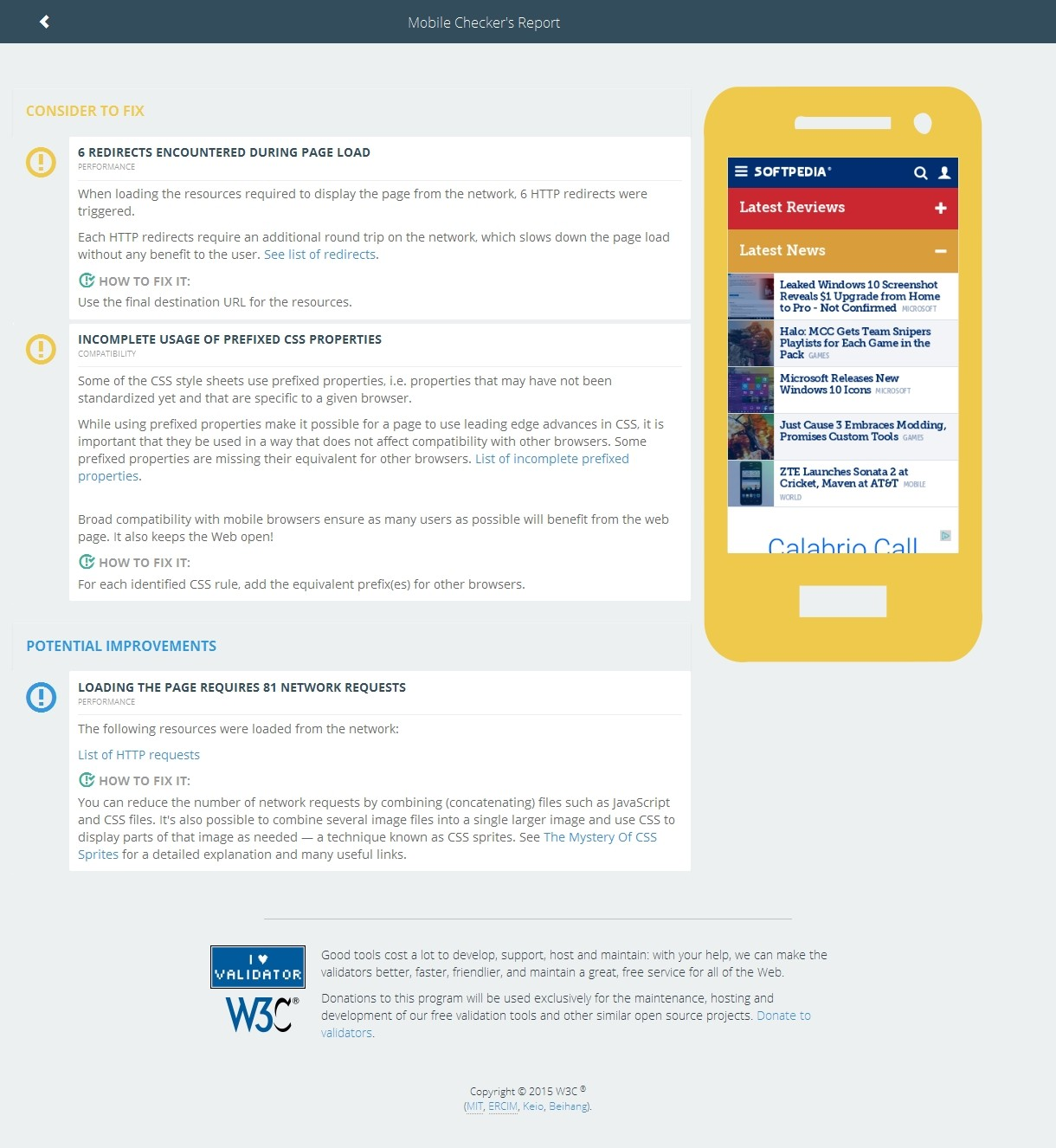 The New W3c Mobile Checker Test Results For