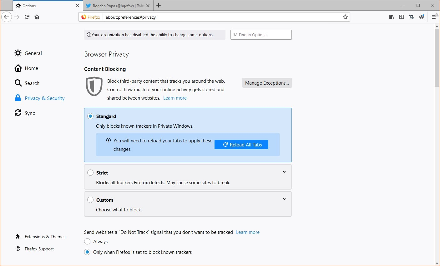 Tracking protection levels in Firefox
