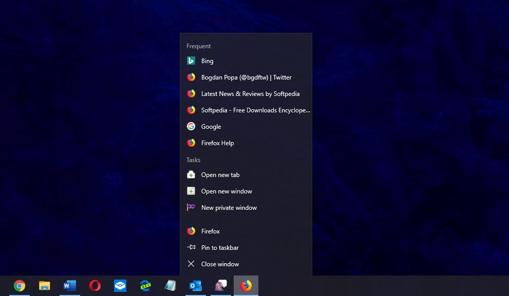 The Firefox icon is pinned to the taskbar beginning with version 69