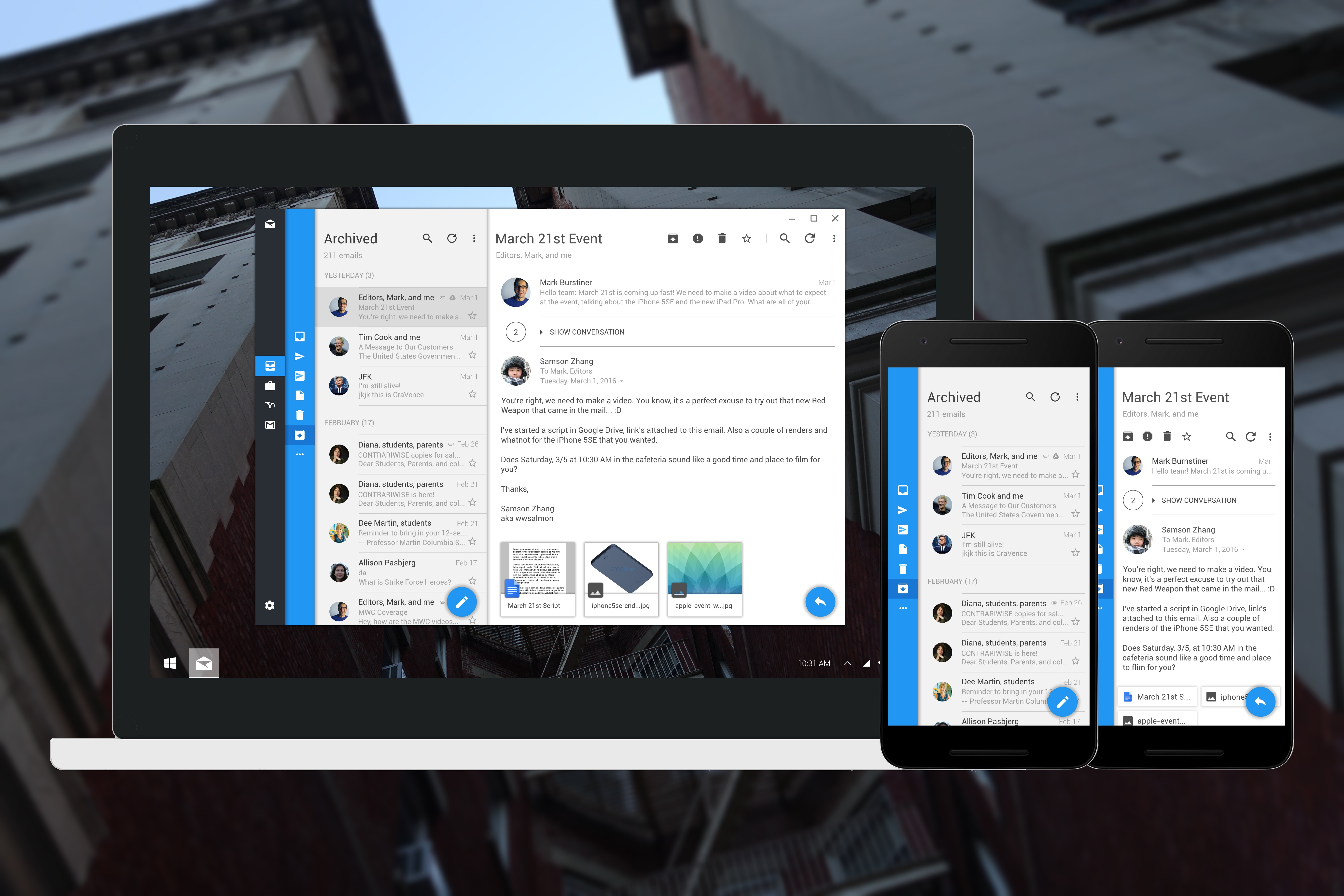 What the Windows 10 Mobile Mail App with Google Material Design