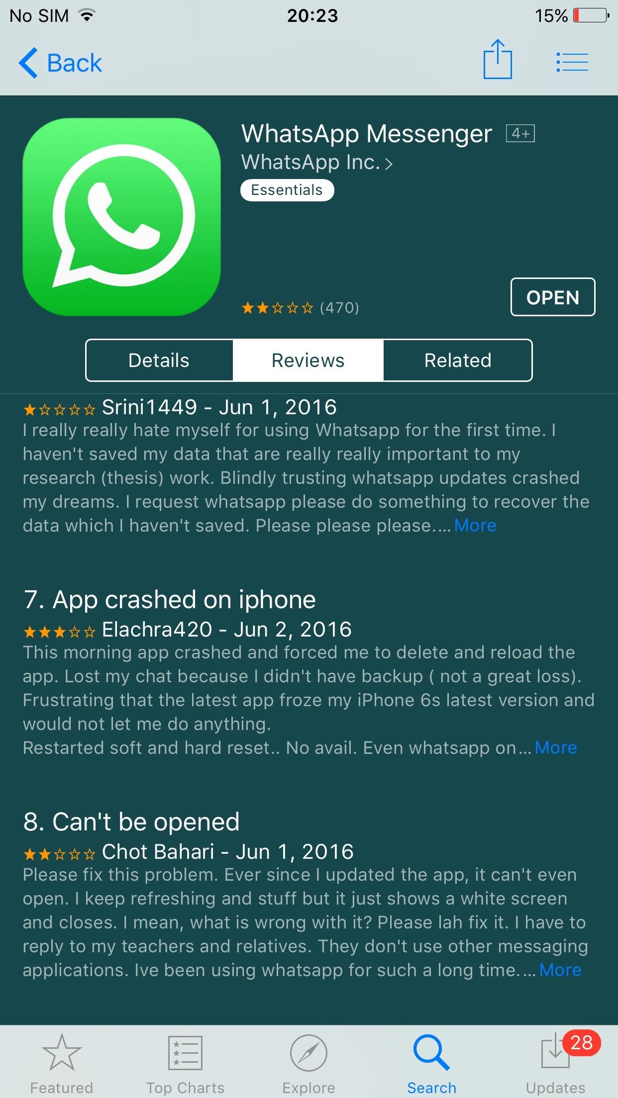 My whatsapp is not updating