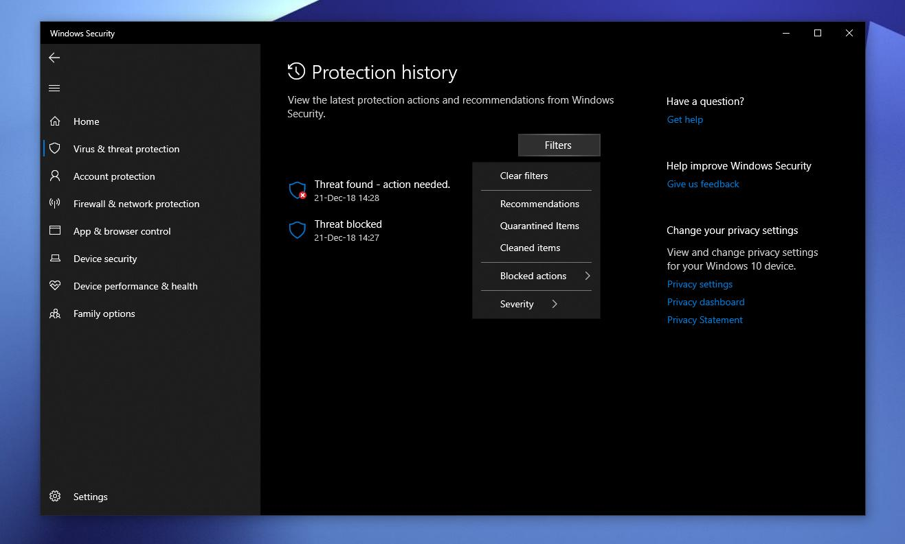Windows 10 19H1: How to View Protection History in Windows