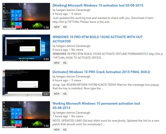 Windows 10 activators show up on youtube are completely fake fake windows 10 activator videos ccuart