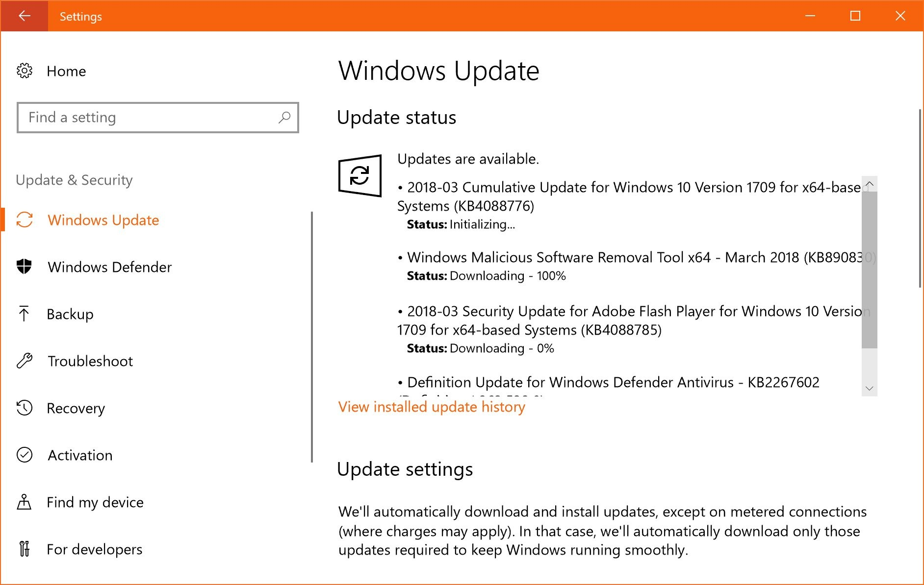 update windows 10 1709 kb