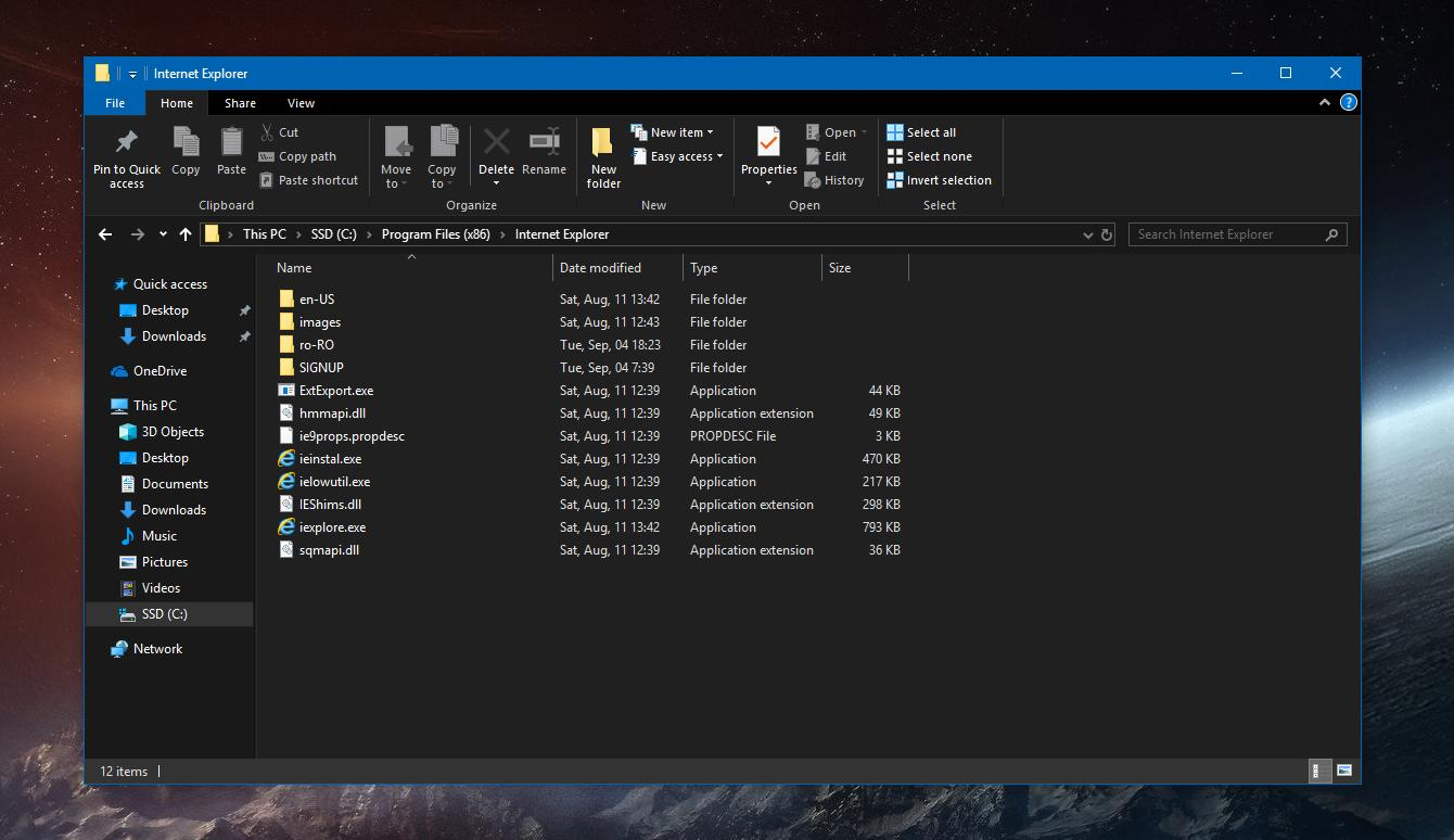 dark file explorer windows 10