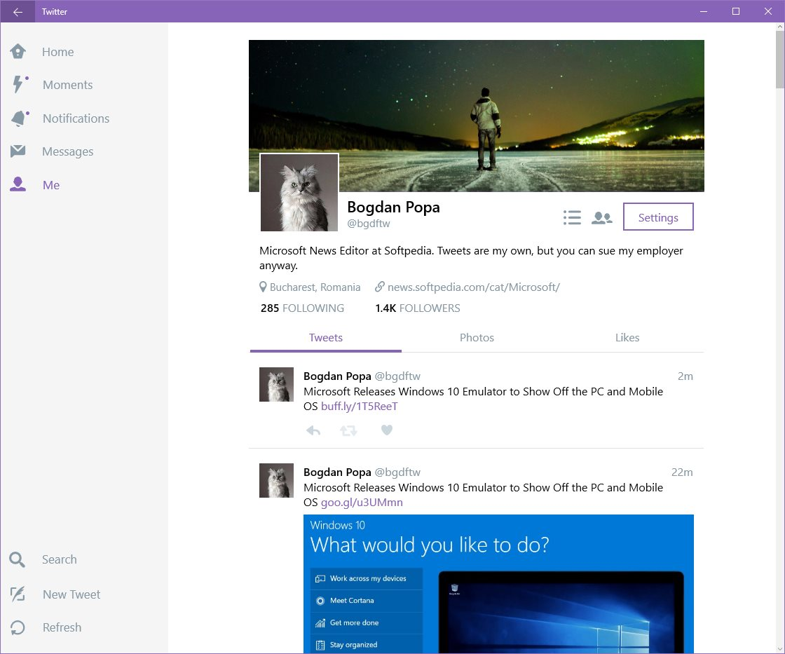 Windows 10 PCs and Mobile Phones Receive Twitter App Update