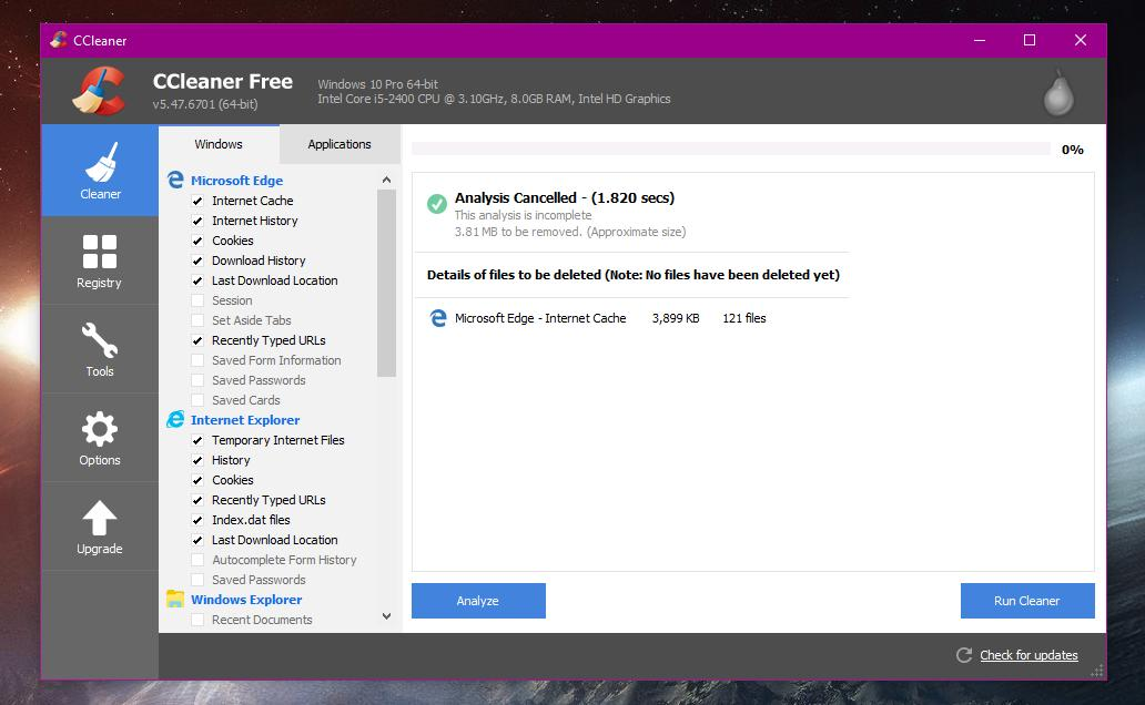 Windows 10 Version 1809 Breaks Down Some CCleaner Cleaning