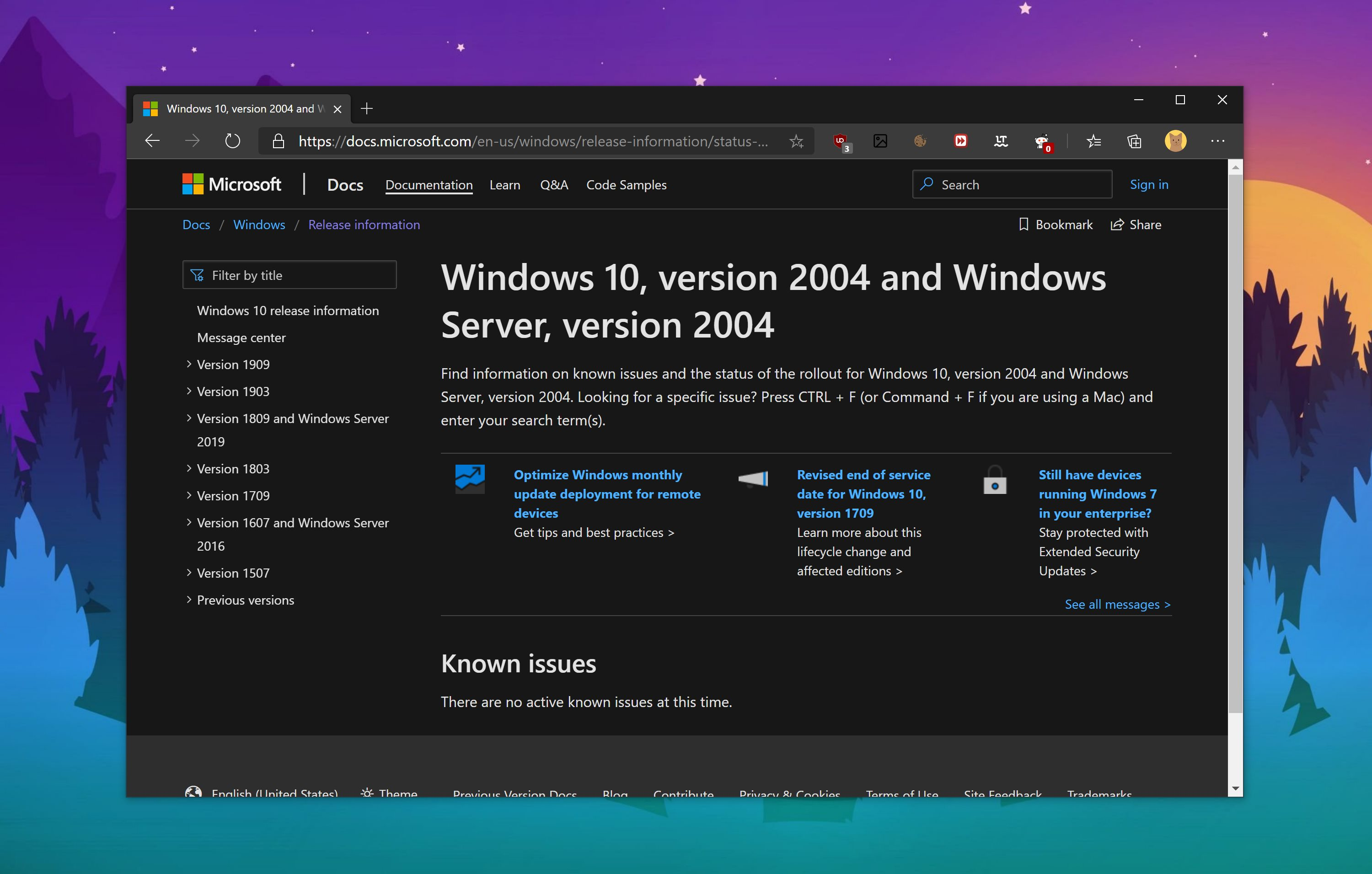 Windows 10 May 2020 Update (version 2004) now available