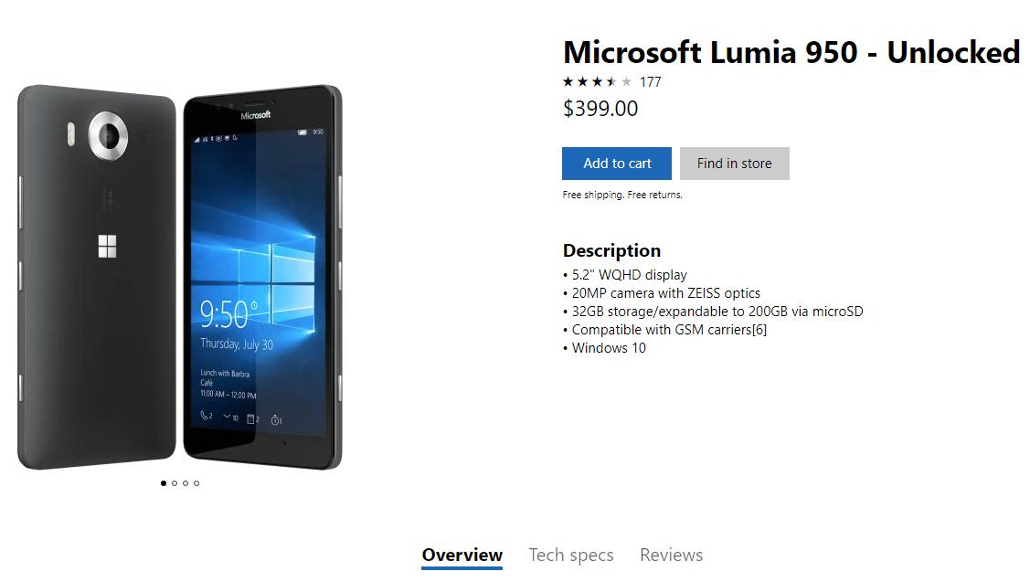 Lumia 950 Now Available At The Microsoft